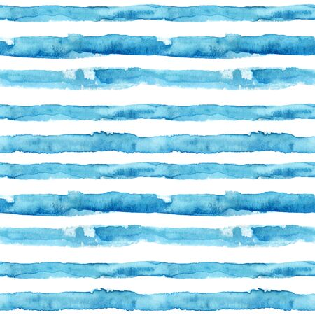 Watercolor textured waved stripes seamless pattern. Abstract background in marine style. Hand painted water color brush stroke illustration Stock Photo