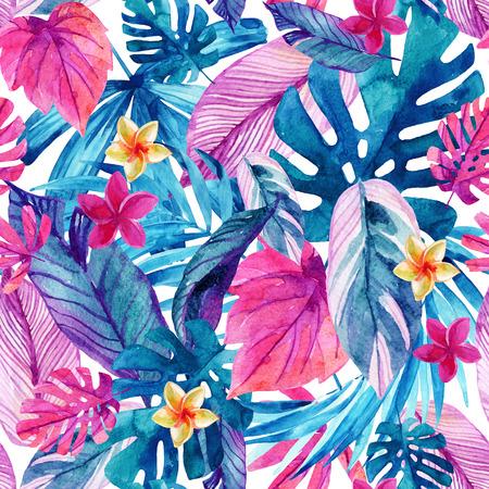 수채화 이국적인 잎과 꽃 배경입니다. 물 색 열 대 꽃 그림 원활한 패턴입니다. 손으로 그린 현대 디자인을위한 다채로운 자연 그림 스톡 콘텐츠