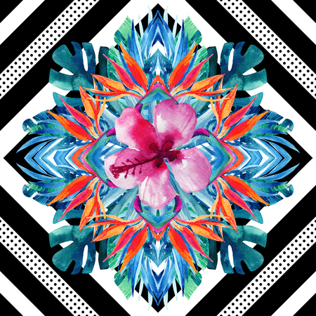 Watercolor tropical leaves and flowers arrangement on geometrical background. Symmetrical mirrored water color exotic floral seamless pattern. Hand painted colorful natural illustration Stock Photo