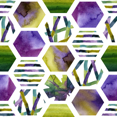 Abstract watercolor textured hexagon shapes seamless pattern. Geometric background with autumn leaves, colorful stripes, green and purple wet water color textures. Hand painted art illustration Stock Photo