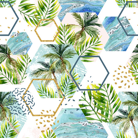 Watercolor tropical leaves and palm trees in geometric shapes seamless pattern. Hexagon with water color, marbling, paper, grunge texture, doodle, memphis elements. Hand painted abstract illustration