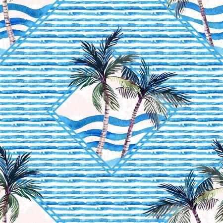 Aquarellpalmedruck in der geometrischen Form auf gestreiftem Hintergrund. Ungewöhnliches tropisches nahtloses Marinemuster. Handgemalte Sommerillustration in den blauen Farben. Standard-Bild - 85460612