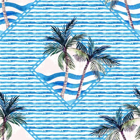 Watercolor palm tree print in geometric shape on striped background. Unusual tropical marine seamless pattern. Hand painted summer illustration in blue colors. Stock Photo