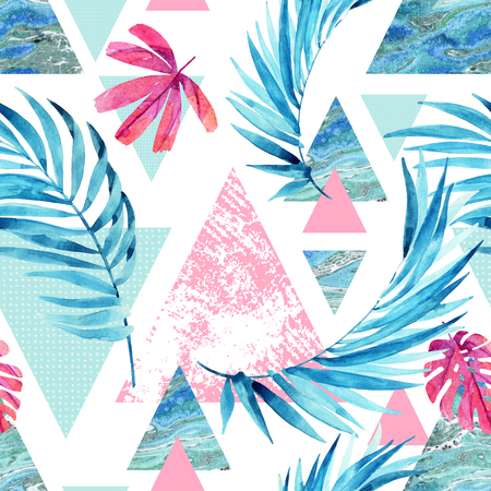 Abstract watercolor triangle and exotic leaves seamless pattern. Triangles with palm leaf, marble, grunge textures. Geometric background in retro vintage 80s or 90s. Hand painted summer illustration Stock fotó