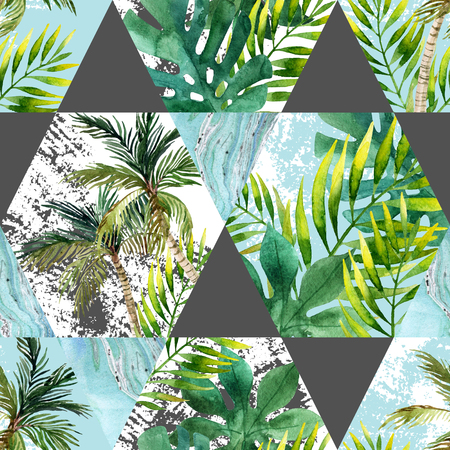 Watercolor tropical leaves and palm trees in geometric shapes seamless pattern. Hexagon and triangle with water color, marbling, paper, grunge textures. Hand painted abstract tropic illustration Stock Photo