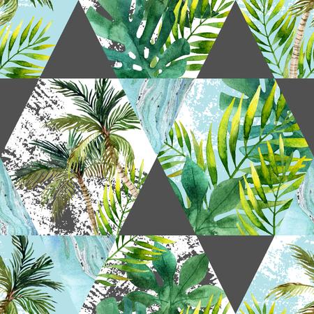 Waterverf tropische bladeren en palmen in geometrisch vormen naadloos patroon. Zeshoek en driehoek met waterkleur, marmering, papier, grunge texturen. Handgeschilderde abstracte tropische illustratie