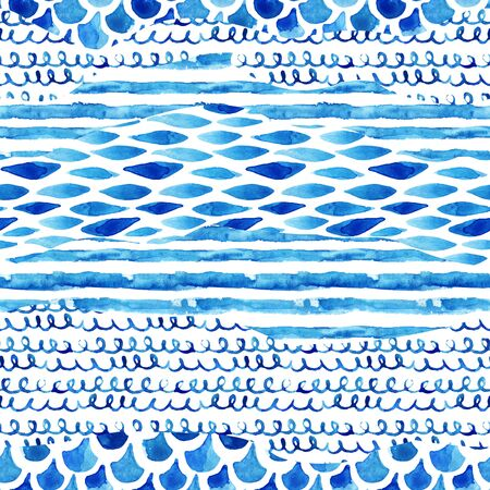 Watercolor textured seamless pattern with wave, stripe, squiggle, fish scale ornaments. Abstract background in marine style. Hand painted water color illustration
