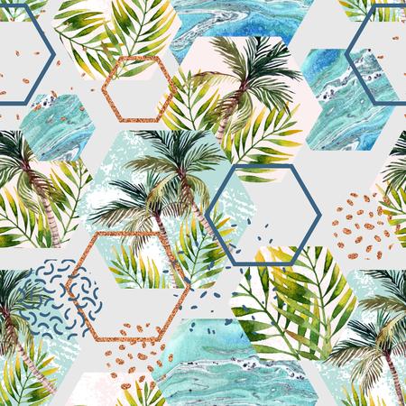 Waterverf tropische bladeren en palmen in geometrisch vormen naadloos patroon. Zeshoek met water kleur, marmering, papier, grunge textuur, doodle, memphis elementen. Handgeschilderde abstracte illustratie