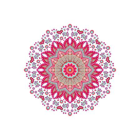 水彩画抽象華やかな曼荼羅。白い背景に孤立したインディアンペイズリーと落書きの飾り。ボヘミアンのための手描きのアートイラスト、本格的な 写真素材