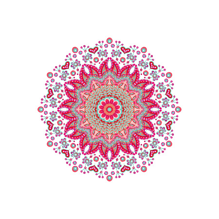 Watercolor abstract ornate mandala. Indian paisley and doodle ornament isolated on white background. Hand painted art illustration for boho, authentic design Reklamní fotografie