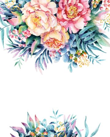 Watercolor flowers, leaves, berry, weeds background. Peony, anemone, ranunculus, meadow herbs arrangement. Hand painted watercolor illustration for floral design. 写真素材