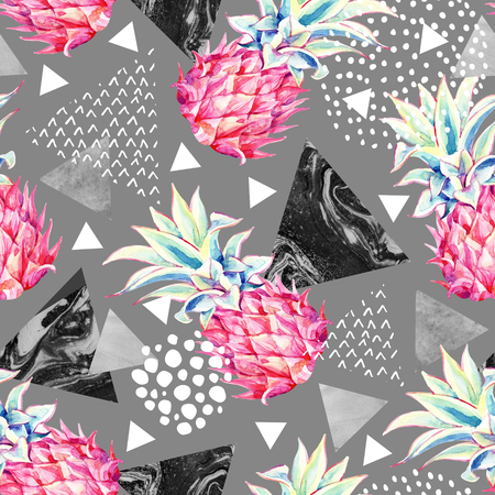 Watercolor pineapple and textured triangles seamless pattern. Summer background with hand drawn ink textures and exotic fruit art. Watercolour abstract illustration on gray Stock Photo