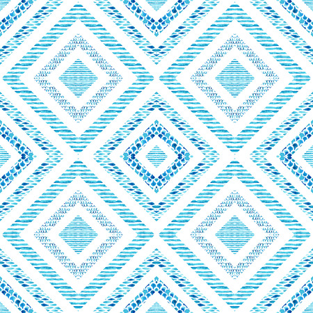 Diamond shapes with watercolor marine elements. Watercolor textured seamless pattern: wave, stripe, scrawl, fish scale ornament. Symmetrical geometric background. Hand painted water color illustration