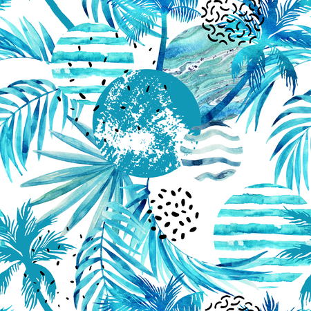 Abstract summer tropical palm trees and leaves seamless pattern. Watercolor palm tree, leaf, marble, grunge, doodle textured circles. Floral and geometrical background. Hand painted illustration Stock Photo
