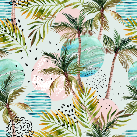 Abstract summer geometric seamless pattern. Watercolor palm tree, leaf, marble, grunge, doodle textured circles background. Water color floral, minimal elements. Hand painted tropical illustration
