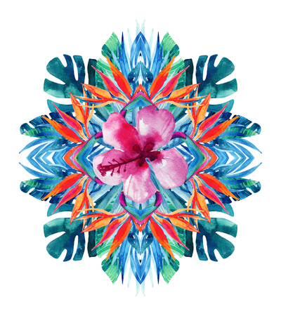 Watercolor tropical leaves and flowers arrangement isolated on white background. Symmetrical mirrored water color exotic floral painting. Hand painted colorful natural illustration for modern design