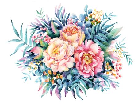 수채화 꽃, 나뭇잎, 베리, 잡 초 배경. 모란, 말미잘, 꽃, 초원 약초. 손으로 그린 플로랄 디자인에 대 한 수채화 그림.