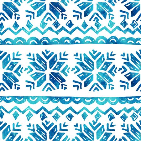 Watercolor ornament with nordic traditional elements. Seamless pattern with hand drawn stylized snowflakes. Hand painted illustration for winter design