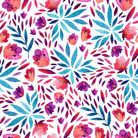 Fondo lindo abstracto de las flores de la acuarela. Patrón transparente de follaje detallado con flores decorativas, pétalos, elementos naturales. Ilustración floral colorida pintada a mano Foto de archivo - 85506755