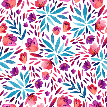 Abstract cute watercolor flowers background. Detailed foliage seamless pattern with decorative flowers, petals, natural elements. Hand painted colorful floral illustration Stock Photo