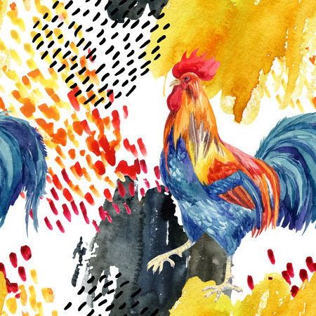 abstract watercolor rooster seamless pattern. Stylized rooster with grunge doodle and watercolor textures. Hand painted illustration Stock Photo
