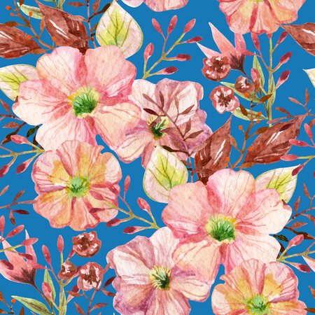 Seamless pattern with pink flowers on blue background. Watercolor hand painted illustration.