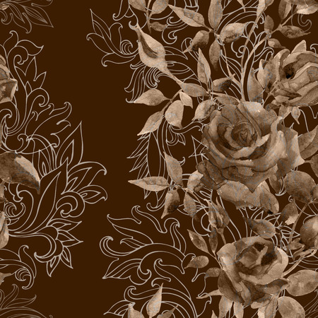 hand print: Roses on baroque ornament. Watercolor flowers on indian paisley seamless pattern. Hand painted illustration