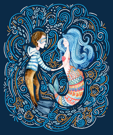 Watercolor sailor and mermaid in love surrounded by doodle waves, sea star, seashell. Cute marine characters. Loving couple. Hand painted sea cartoon illustration Reklamní fotografie