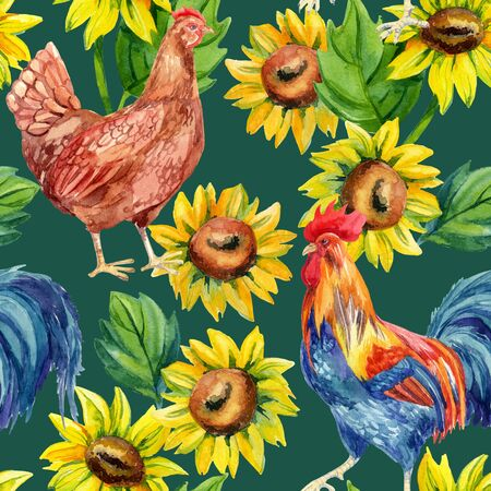 chick: Watercolor hen and rooster with sunflowers seamless pattern. Hand painted chicken illustration