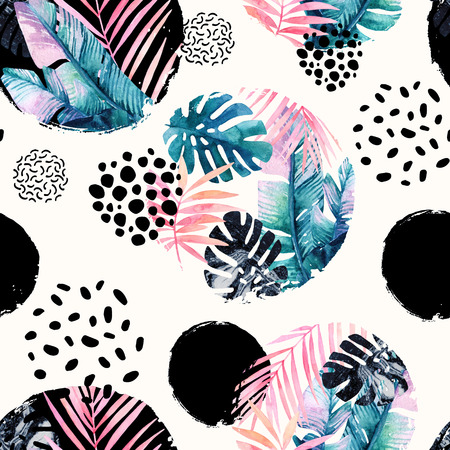 Abstract natural seamless pattern inspired by memphis style. Circles filled with tropical leaves, doodle, grunge texture. Hand painted watercolour illustration Stock Photo