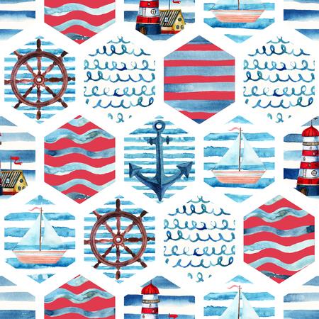 水彩冒険パッチワーク マリン スタイルでシームレスなパターン。灯台と航海の背景を夏、ヨット、海の波を抽象化します。水カラー ネイビー モザイク図 写真素材 - 85904592