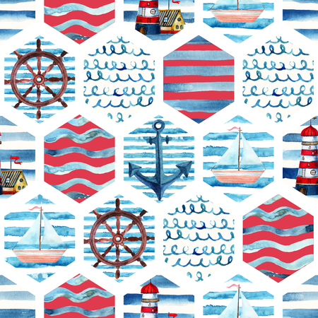 Watercolor adventure seamless pattern in patchwork marine style. Summer voyage background with lighthouse, yacht, abstract sea waves. Water color navy mosaic illustration Zdjęcie Seryjne