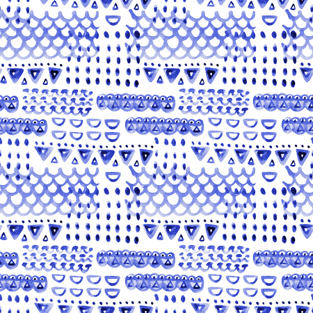 winter fashion: Stylized knitted seamless pattern. Watercolor background with geometric shapes. Scandinavian style. Hand painted illustration.