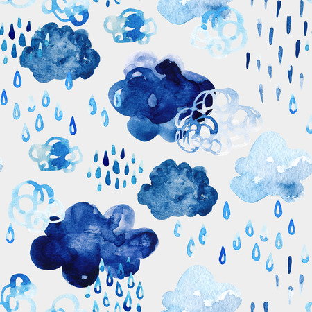 rainy season: Watercolor fall shower seamless pattern. Cool watercolour clouds with raindrops background. Hand draw art illustration for autumn weather concept