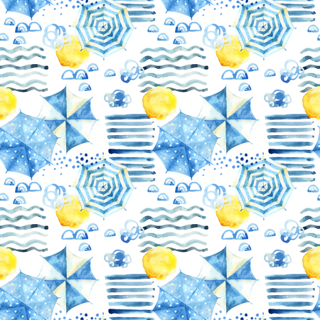 Abstract watercolor beach background. Stylized summer vacation seamless pattern: sun, water waves, umbrellas. Hand painted watercolour illustration in minimal style