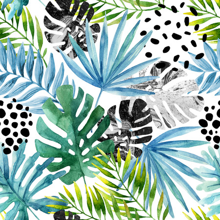 Natural watercolor seamless pattern. Hand drawn abstract tropical summer background: marbled monstera leaves, fan palm leaf, squiggles, dots in circle. Modern art illustration Фото со стока