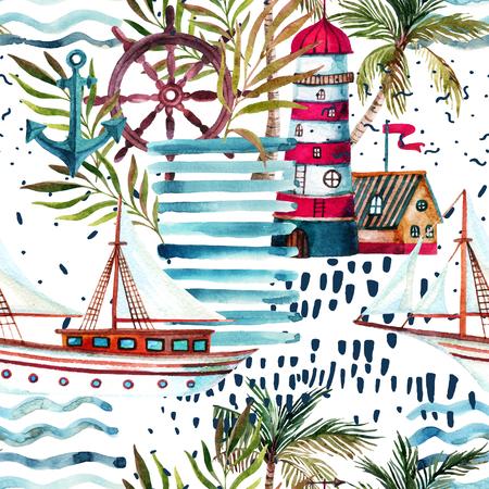 Patrón sin fisuras de la playa de verano. Velero de la acuarela, faro, palmera, hojas, texturas del grunge, garabatos, movimientos del cepillo. Fondo de color de agua. Ilustración pintada a mano en estilo marinero Foto de archivo - 85904626
