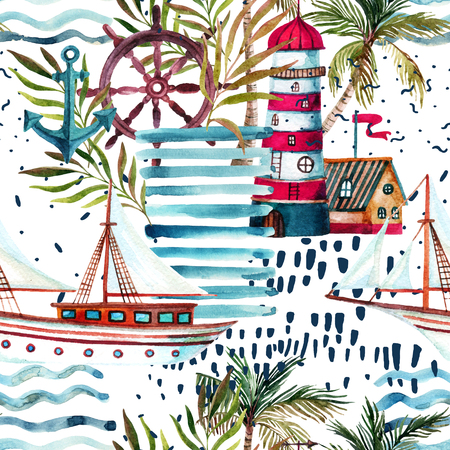 Summer beach seamless pattern. Watercolor sailboat, lighthouse, palm tree, leaves, grunge textures, doodles, brush strokes. Water color background. Hand painted illustration in marine style Zdjęcie Seryjne