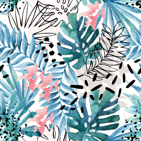 Abstract exotic leaves seamless pattern. Hand drawn tropical summer background: watercolor leaves, leaf contours drawings, silhouette, marble textures, brush stroke, dots. Watercolour art illustration