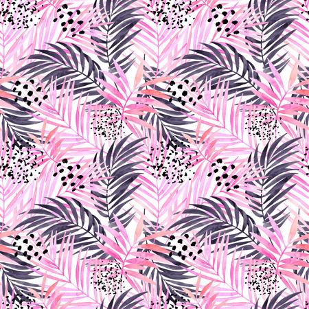 수채화 열 대 나뭇잎 원활한 패턴입니다. 최소한의 요소로 수채화 분홍색 및 그래픽 팜 리프 그림. 손으로 여름 디자인을위한 아트 그림을 그린. 물 컬 스톡 콘텐츠