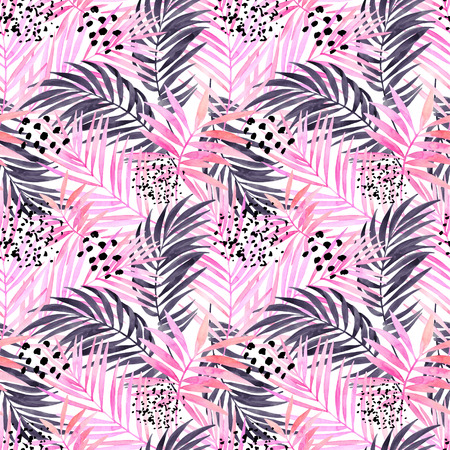 Watercolor tropical leaves seamless pattern. Watercolour pink colored and graphic palm leaf painting with minimal elements. Hand painted art illustration for summer design. Water color background.