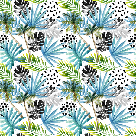 squiggles: Nature seamless pattern. Hand drawn abstract tropical summer background: palm trees, marbled monstera, fan palm leaves, squiggles, dots in circle. Modern art illustration Stock Photo