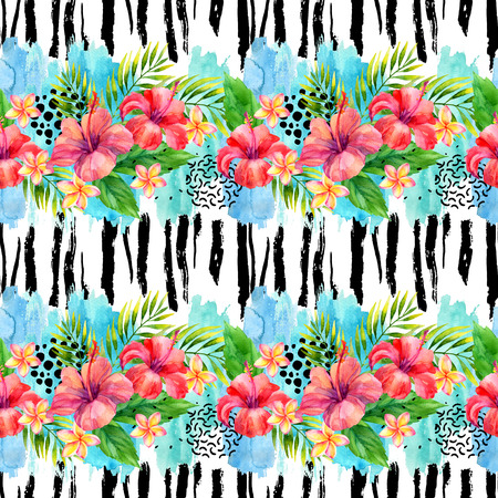Hand painted artwork: watercolor tropical leaves and flowers on brush strokes background. Water color exotic floral elements, ink doodle, minimal shapes seamless pattern. Colorful natural illustration