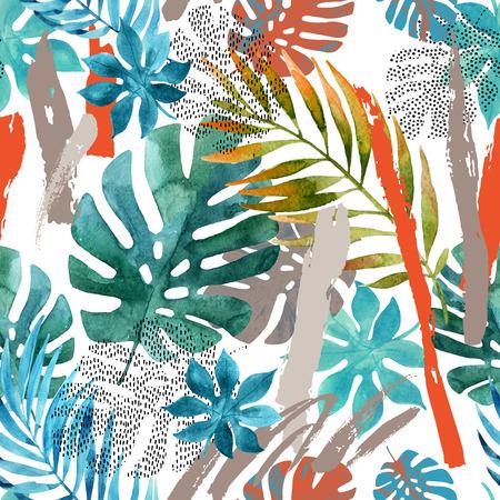Cool peinture abstraite. Illustration aquarelle moderne avec des feuilles tropicales, grunge, textures de marbrure, coups de pinceau rugueux, griffonnages, éléments minimes. Affiche créative avec des formes dessinées à la main Banque d'images - 86246802