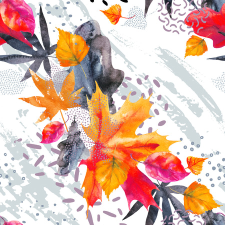 Abstract fall seamless pattern in bright autumn colors. Watercolor painting of falling leaves, ink doodle, grunge textures. Floral background for fall design. Hand drawn illustration