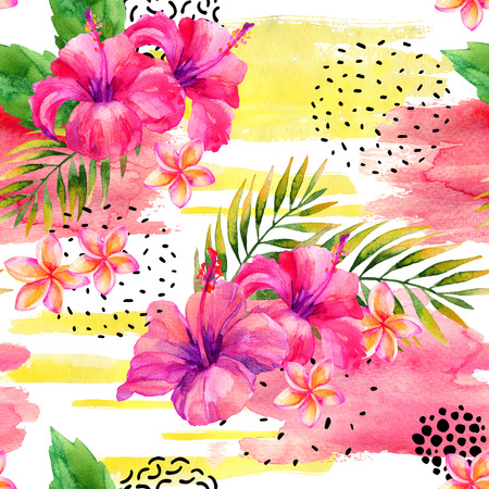 Hand painted watercolor tropical leaves and flowers on dry rough brush stroke background. Water color floral elements, splash, ink doodle shapes seamless pattern. Colorful exotic illustration