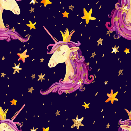 Watercolor unicorn seamless pattern. Fairy tale background with cute unicorn princess, shine stars, sparkles, flash. Hand painted illustration for kids, children design
