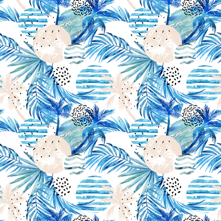 gray texture: Abstract summer tropical palm trees and leaves seamless pattern. Watercolor palm tree, leaf, marbling, grunge, doodle textured circles. Floral and geometrical background. Hand painted illustration Stock Photo