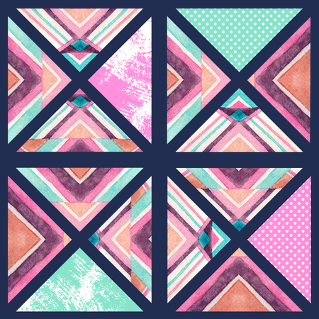 Abstract square tile seamless pattern. Watercolor geometric background in mosaic style. Water color, grunge textures in triangles in retro vintage 80s - 90s colors. Hand painted illustration
