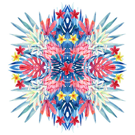 Watercolor tropical leaves, flowers, pineapple arrangement isolated on white background. Symmetrical mirrored water color exotic floral painting. Hand painted natural illustration for modern design